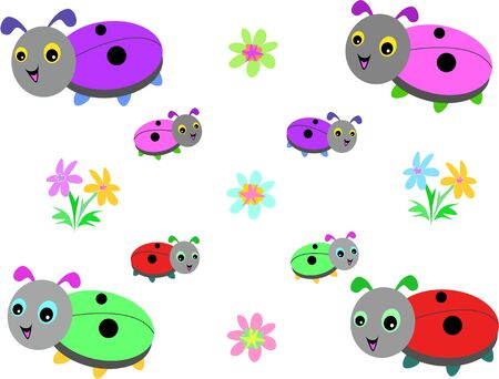 Collection of Lady Bugs and Flowers Vector