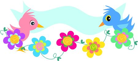 Birds Banner with Spiral Flowers Vector
