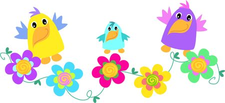 Funny Birds with Spiral Flowers Vector