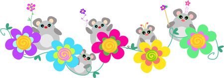 Mice Banner with Spiral Flowers Vettoriali