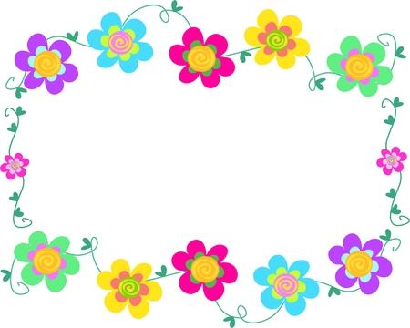 Frame of Spiral Flowers