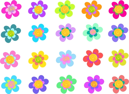 Collection of Five Petal Spiral Flowers