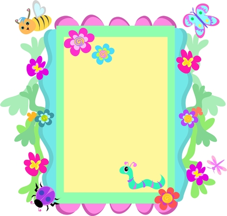 Whimsical Frame of Flowers and Animals Stock Illustratie
