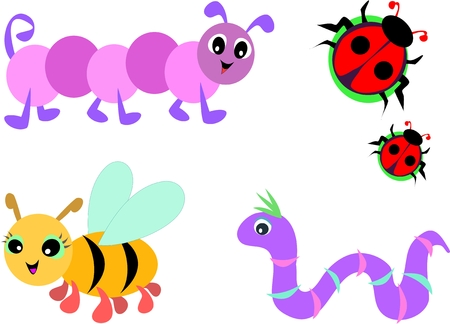 Collection of Cute Bugs Illustration