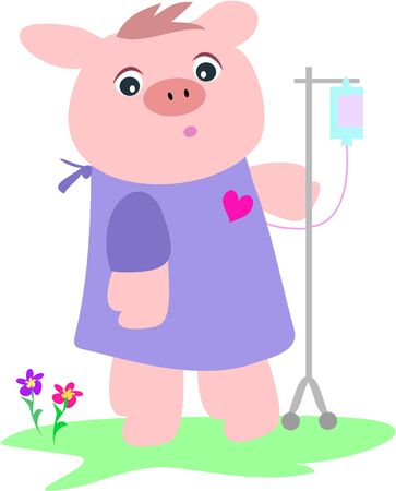 Sick Pig with Intravenous Bottle Vector