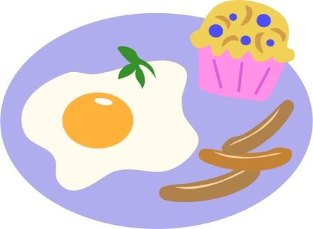 卵、ソーセージ、そしてブルーベリーのマフィンのプレート