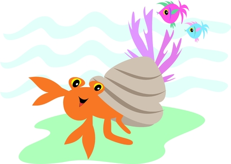 Hermit Crab and Fish Friends
