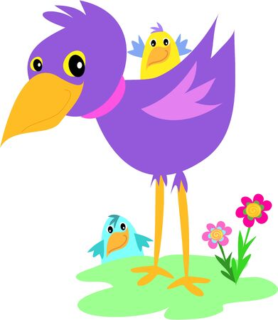 Purple Bird with Birds Ilustracja