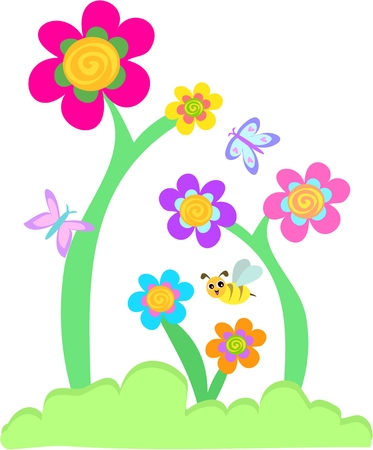 bee on flower: Whimsical Flower Garden with Butterflies and Bee Illustration