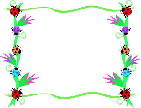 Frame of Red Ladybugs and Flowers Vector