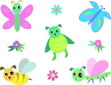 Mix of Dragonflies, Butterflies, Bee and Beetle Stock Vector - 5225514