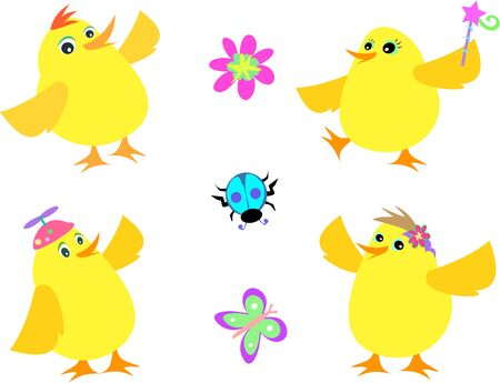 Mix of Yellow Chickens, Beetle, Butterfly, and Flower