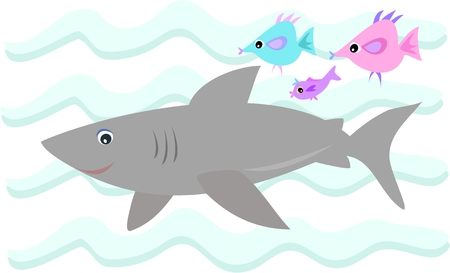 Gray Shark with Fish Friends Stock Vector - 5225506