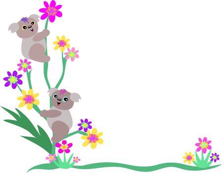 Frame of Two Koala Bears on Flowers Vector
