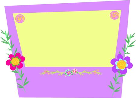 Frame of Box with Flowers, Bamboo, and Spirals Vector