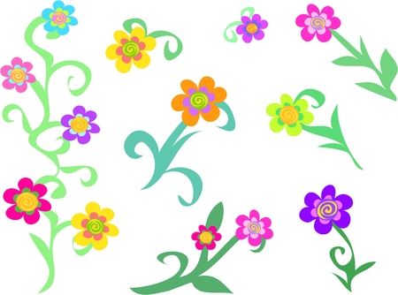 vector flowers: Mix of Spiral Flowers and Plants Illustration