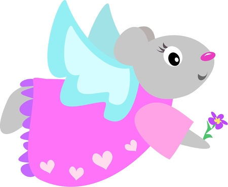 Angel Mouse with Flower Stock Vector - 5263416