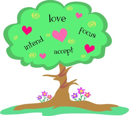 Love Tree with Hearts and Spirals Illustration