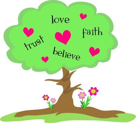 Love Tree mit Herzen und Blumen Standard-Bild - 5263487