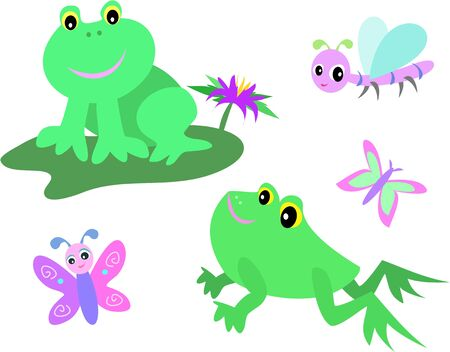 Mix Page of Frogs, Dragonfly, and Butterfly Vector