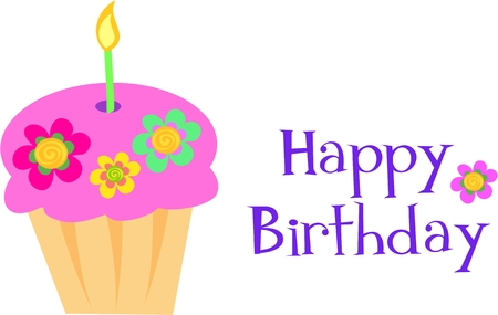 Happy Birthday Flower Cupcake Vector