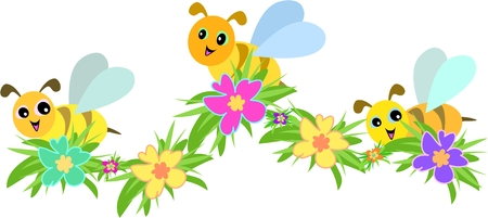 Three Bees and Hibiscus Flowers Illustration