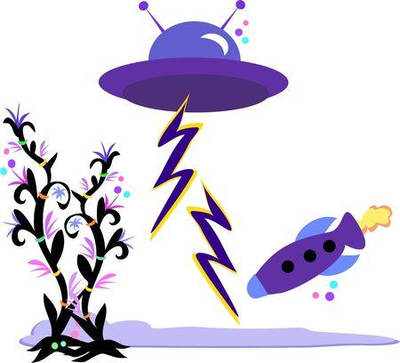 Alien Ships and Plants Illustration