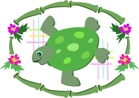 Bamboe frame met Green Sea Turtle Stock Illustratie