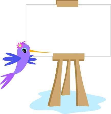 Art Easel with Hummingbird