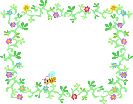 Frame of Lush Garden Vines, Flowers, and Bee