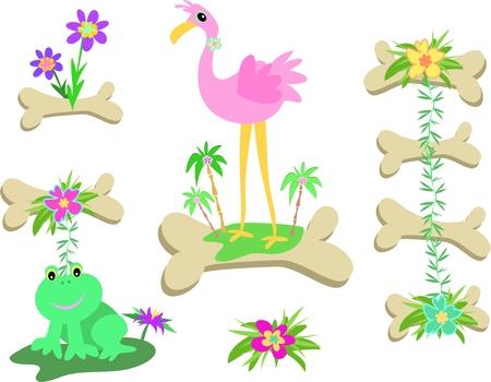 Mix of Bones, Flamingo, Frog, and Flowers Vector
