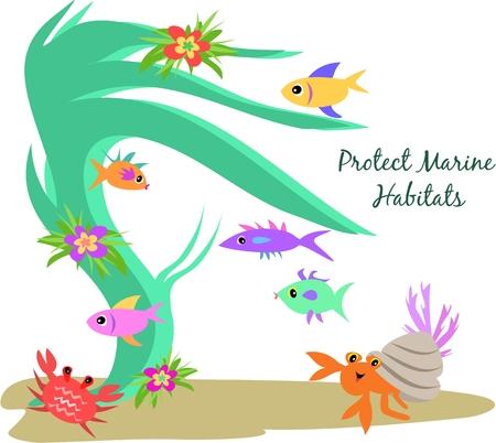 Bescherm mariene habitats Stock Illustratie