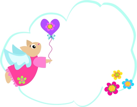 Message Bubble with Angel Cat, Flowers and Balloon Vector
