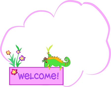 Message Bubble with Chameleon and Welcome Sign