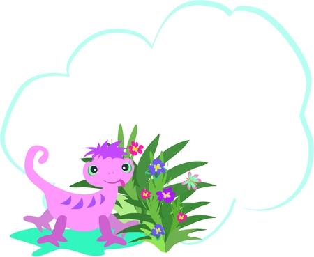 기발한 카멜레온과 꽃으로 장식 된 메시지 버블