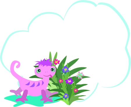 Message Bubble with Quirky Chameleon and Flowers