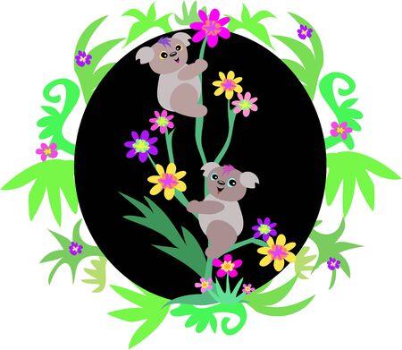 Koala Bears in Plant Frame Stock Vector - 5448692