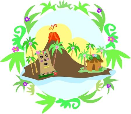 ティキ島植物フレームで  イラスト・ベクター素材