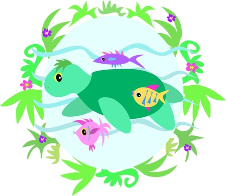 Green Sea Turtle and Fish Friends in Plant Frame