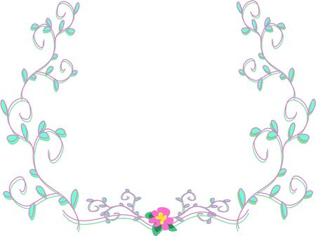 Frame of Delicate Purple Vines and Pink Flower