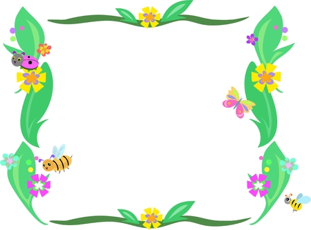 bee on flower: Retro Frame of Leaves, Flowers and Bugs