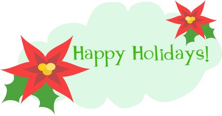festive occasions: Happy Holidays Greeting with Flowers