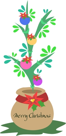 Christmas Tree Plant in a Pot 向量圖像