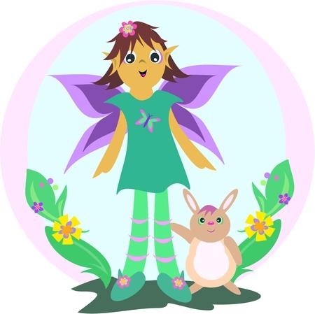 Cute Fairy with Rabbit in a Garden Vector