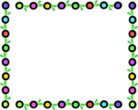 Retro Frame of Colored Circles and Leaves