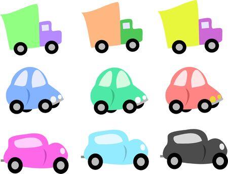 トラックや車のミックス  イラスト・ベクター素材