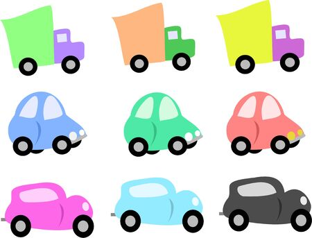 Mix of Trucks and Cars Stock Vector - 5515163