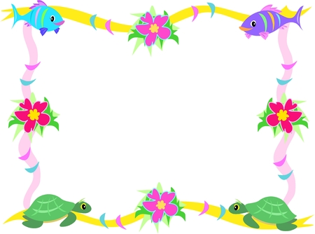 Frame of Fish, Hibiscus, and Sea Turtles Vector