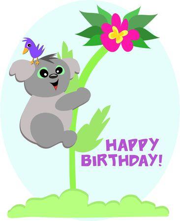 says: Koala Bear says Happy Birthday