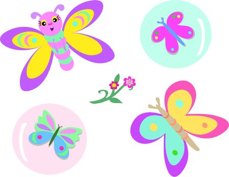 Mix of Butterflies, Bubbles, and Flowers